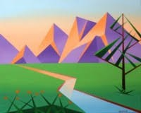 Abstract Geometric Mountains Mark Webster Style (Xmas School Holidays)
