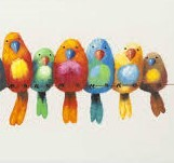 Watercolour Birds on a wire